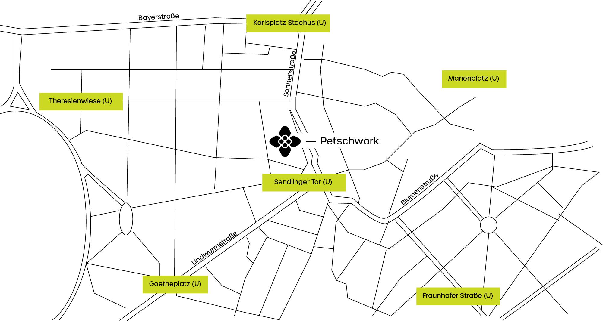 Petschwork Consulting München | All about students | Studentenbreatung | Zertifiziert. Erfahren. Anders | Kontakt | Anfahrtsskizze